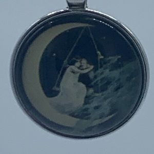 New cabochon crescent moon people pendant necklace